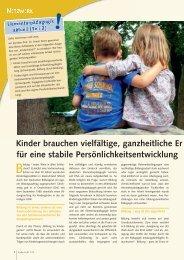 Kinder brauchen vielfältige, ganzheitliche Er ... - ErzieherIn.de