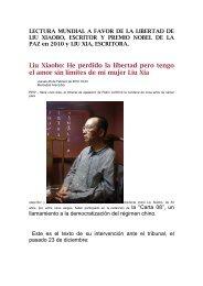 Liu Xiaobo: He perdido la libertad pero tengo el amor sin límites de ...