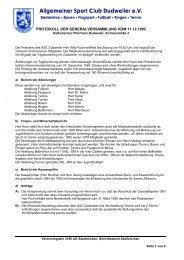 Protokoll Generalversammlung 11-12-1992 - ASC Dudweiler ev