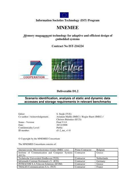 MNEMEE - Electronic Systems - Technische Universiteit Eindhoven