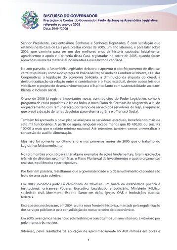 Discurso de Prestação de Contas do Governador Paulo Hartung em ...