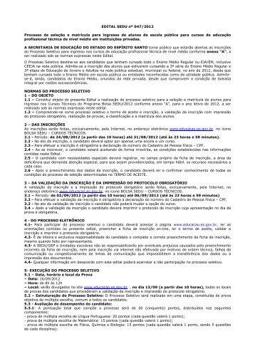 EDITAL SEDU 047-2012 - Processo seleção e matrícula ingresso ...
