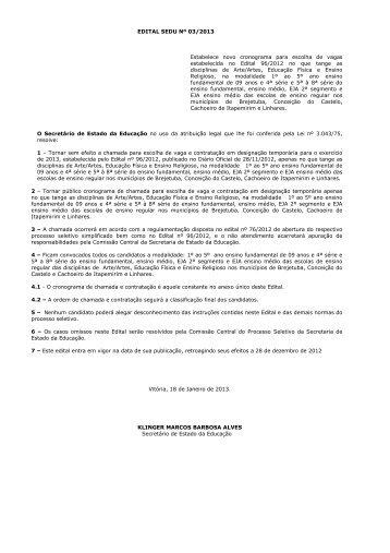 EDITAL SEDU Nº 03 2013 Estabelece novo cronograma para . 272392fecc914