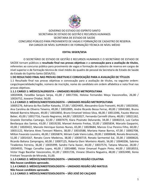 cc7ca44d6a Edital de Abertura do 3 - Governo do Estado do Espírito Santo
