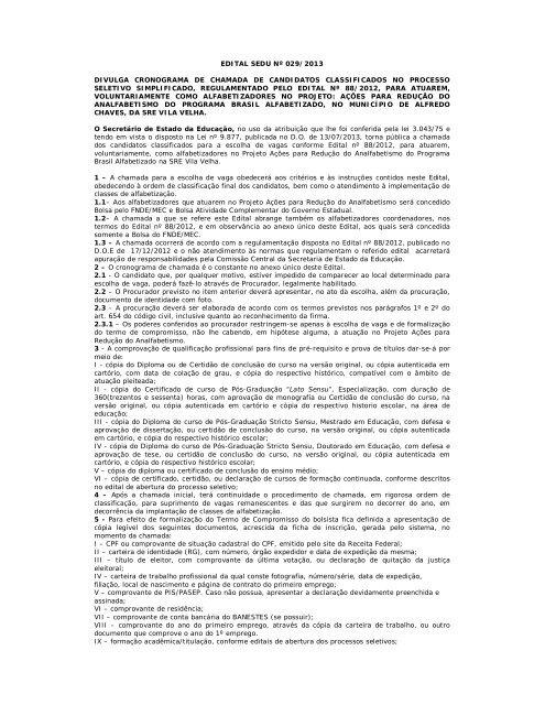 EDITAL SEDU Nº 029 2013 DIVULGA CRONOGRAMA DE ... 572b8474e7d4c