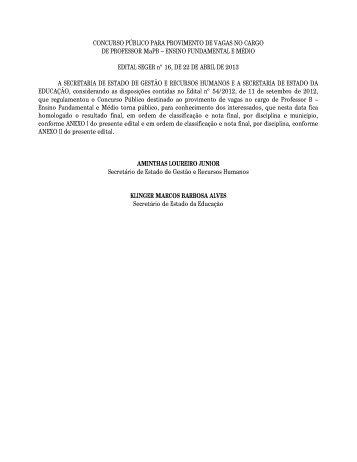 Resultado - Governo do Estado do Espírito Santo