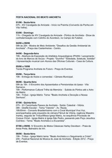 s programação festa nacional do beato anchieta - Governo do ...
