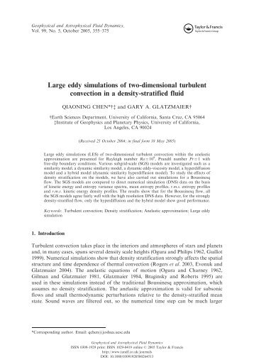 Large eddy simulations of two-dimensional turbulent convection in a ...