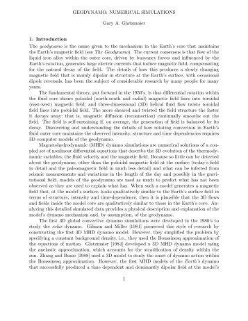 GEODYNAMO: NUMERICAL SIMULATIONS Gary A. Glatzmaier 1 ...