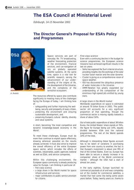 the edinburgh ministerial council - ESA