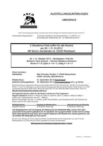 Ausstellungsunterlagen Obedience (pdf) - ASCD