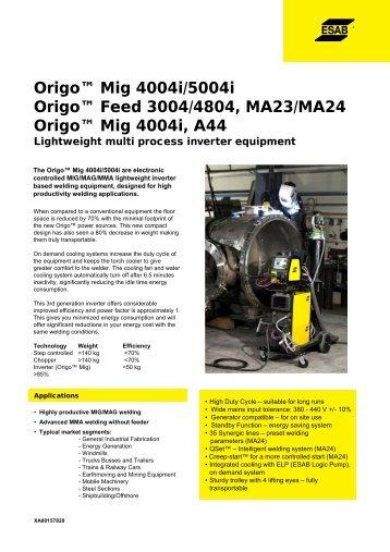 Origo™ Mig 4004i/5004i Origo™ Feed 3004/4804, MA23/MA24 ...