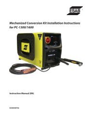 Mechanized Conversion Kit Installation Instructions for PC ... - ESAB