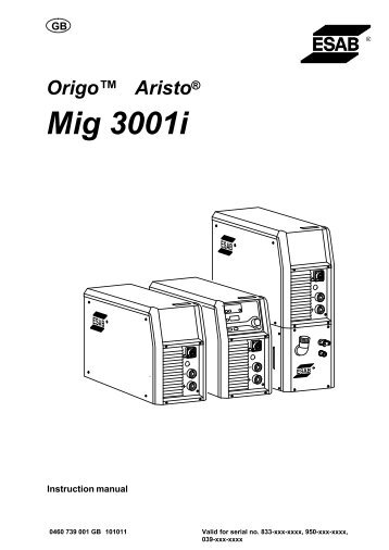 Aristo, OrigoMig 3001i - ESAB