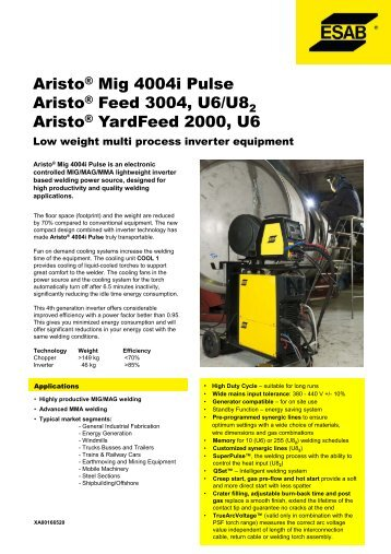 Aristo® Mig 4004i Pulse Aristo® Feed 3004, U6/U8 Aristo ...