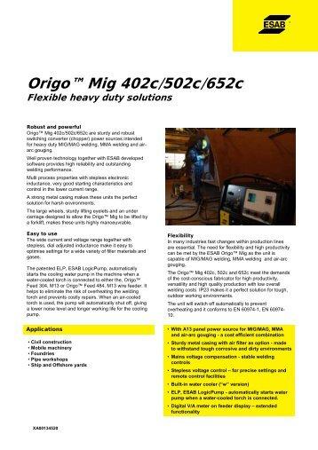 Origo™ Mig 402c/502c/652c