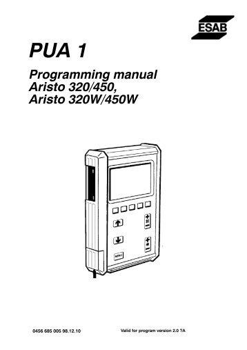 Programming manual Aristo 320/450, Aristo 320W/450W - ESAB