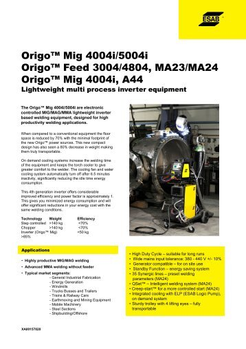 Origo™ Mig 4004i_5004i_Origo Mig 4004i A44_XA00157820 - Esab