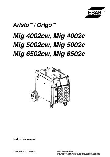 Aristo, Origo Mig 4002c, 5002c, 6502c - ESAB
