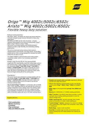 Origo™ Mig 4002c/5002c/6502c Aristo™ Mig 4002c/5002c ... - ESAB