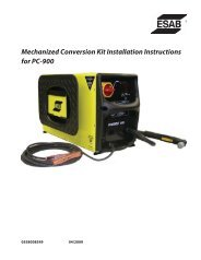 Mechanized Conversion Kit Installation Instructions for PC-900 - ESAB