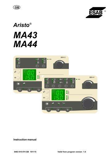 Control Panel (Aristo MA43, MA44) - ESAB