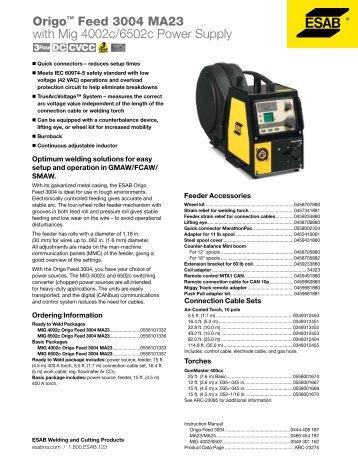 Origo? Feed 3004 MA23 with Mig 4002c/6502c Power Supply