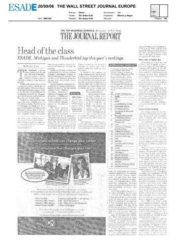 20/09/06 THE WALL STREET JOURNAL EUROPE - Esade