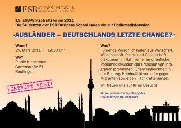 Ausländer – deutschlAnds letzte chAnce?« - ESB Business School