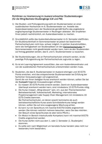 Richtlinien zur Anerkennung im Ausland erbrachter Studienleistungen