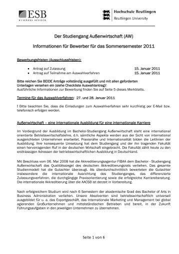Der Studiengang Außenwirtschaft (AW) Informationen für Bewerber ...