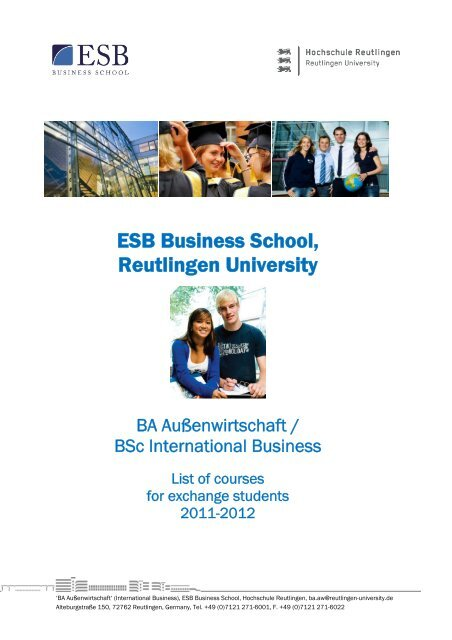 List of courses WS 2011/2012 - ESB Business School