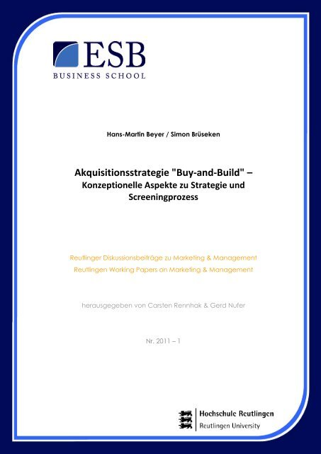 "Akquisitionsstrategie ""Buy-and-Build"" – - ESB Business School"