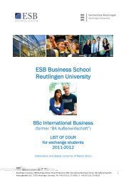 List of Courses 2011/12 - ESB Business School