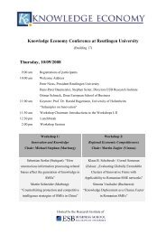 Knowledge Economy Conference at Reutlingen University Thursday ...