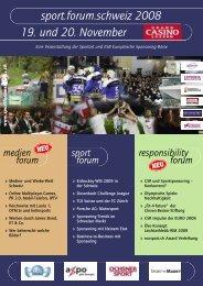 sport.forum.schweiz 2008 19. und 20. November