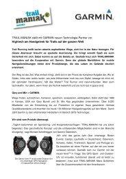 TRAIL-MANIAK stellt mit GARMIN neuen Technologie-Partner vor ...