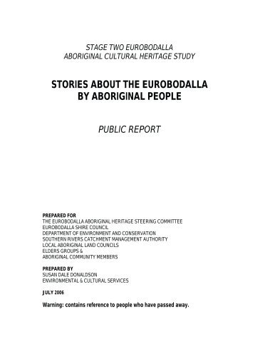 STORIES ABOUT THE EUROBODALLA BY ABORIGINAL PEOPLE
