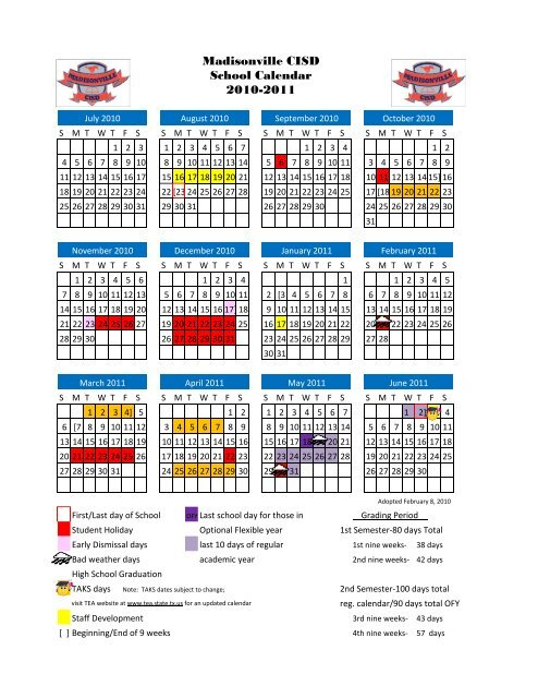 Conroe Isd Calendar 2022.Madisonville Cisd School Calendar 2010 2011