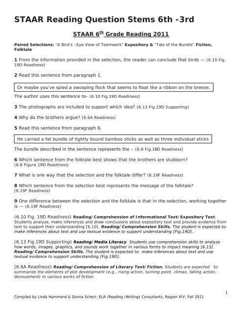 STAAR Reading Question Stems 6th 3rd ESC Region VI