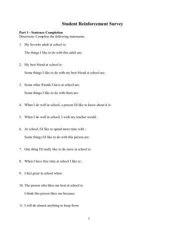 Student Reinforcement Survey