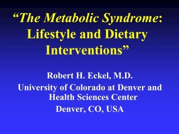 """The Metabolic Syndrome: Lifestyle and Dietary Interventions"""