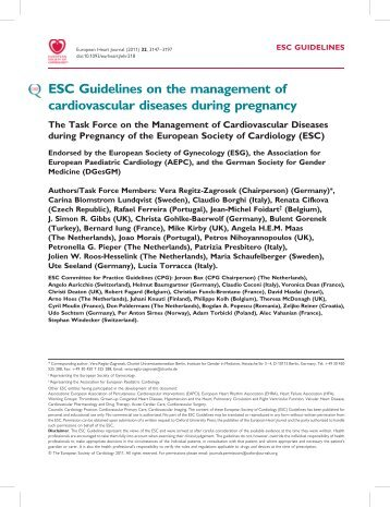 ESC Guidelines on the management of cardiovascular diseases ...