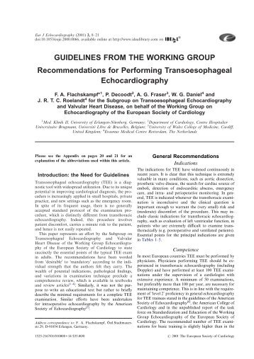 Performing transesophageal echocardiography: Guidelines from the