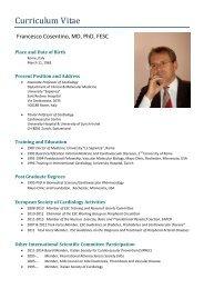 CV COSENTINO Francesco - European Society of Cardiology
