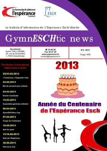 GymnESCHtic News N°3 - 2012 - Esch sur Alzette