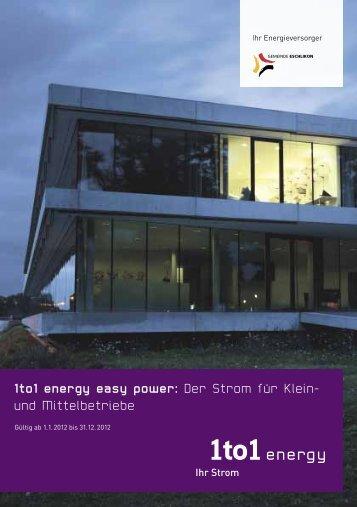 Klein- und Mittelbetriebe 1to1 energy easy power Strombezug