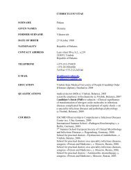 CURRICULUM VITAE SURNAME Piskun GIVEN NAMES Dzmitry ...