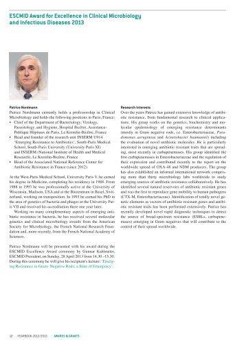 presentation of 2013 awardees - European Society of Clinical ...