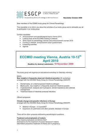 ECCMID meeting Vienna, Austria 10-13 April 2010 - European ...